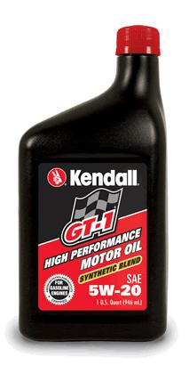 GT 1 HP SB 5w 20 Kendall GT 1 High Performance Synthetic Blend Motor Oil